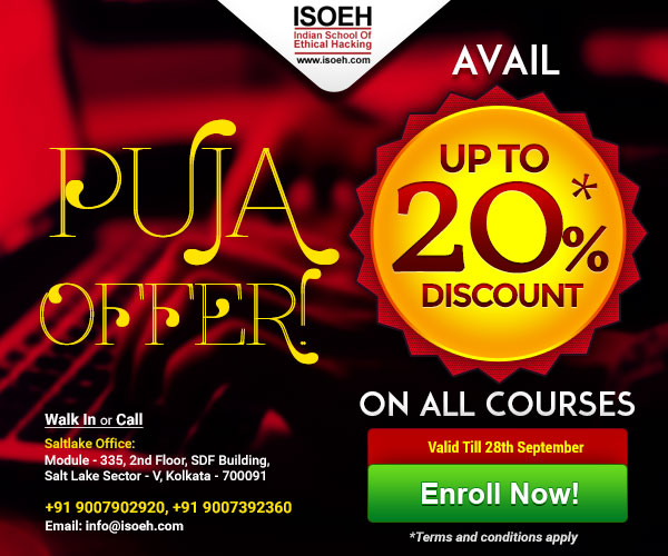 Puja Offer 2018! Avail up to 20% discount on all courses